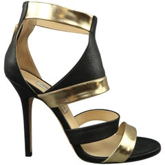 JIMMY CHOO Size 9 Black & Gold Leather BESSO Sandals