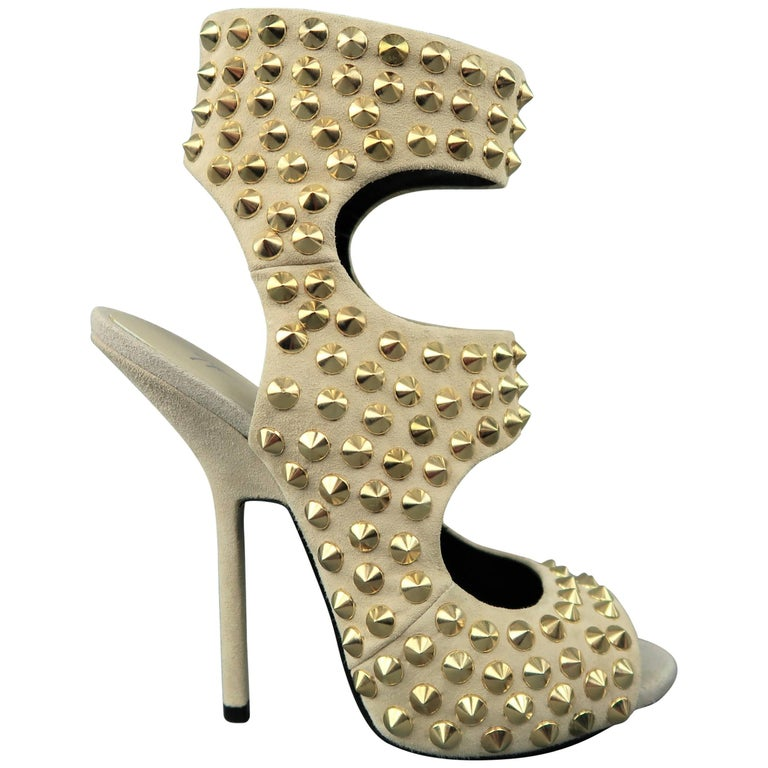 ca57291f3611d GIUSEPPE ZANOTTI Size 9 Beige Gold Spike Studded Suede Sandals For Sale