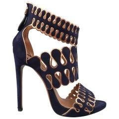 ALAIA Size 8.5 Navy & Metallic Copper Laser Cut Suede Pattern Strap Sandals