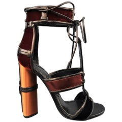 Tom Ford Black and Copper Velvet and Silk Leather Sandals