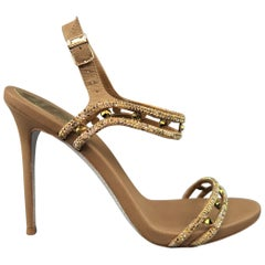 RENE CAOVILLA Size 8.5 Bronze Metallic Leather Rhinestone Ankle Harness Sandals