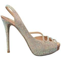 VALENTINO Size 8.5 Beige Aurora Borealis Crystal Suede & Silk Peep Toe Sandals