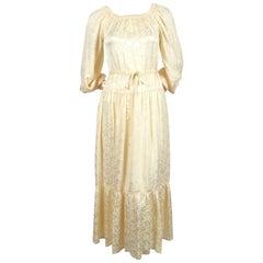 1970's OSSIE CLARK cream floral damask dress