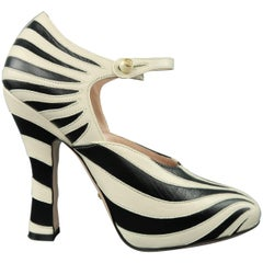 GUCCI Size 8.5 Black & Beige Leather LESLEY Zebra Mary Jane Pumps
