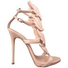 GIUSEPPE ZANOTTI Size 8 Beige Patent Leather COLINE Wings Sandals