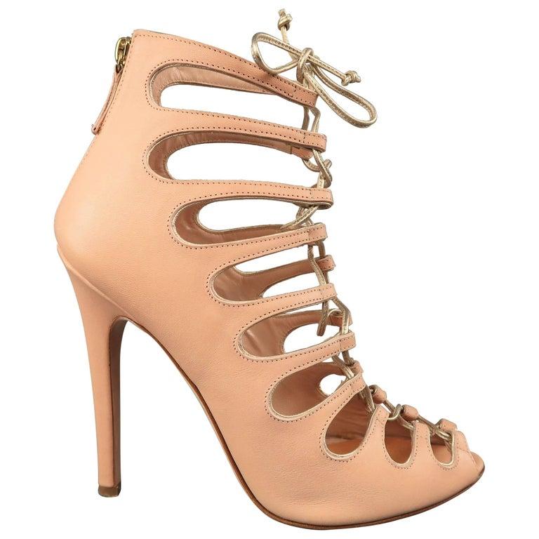 afc9d019610 GIAMBATTISTA VALLI Size 9 Pink Leather Lace Up Peep Toe Sandals