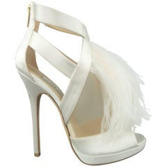 JIMMY CHOO Size 8.5 White Silk / Leather Ostrich Feather Bridal Sandals