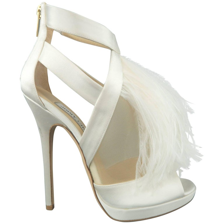 edb661bd7f35 JIMMY CHOO Size 8.5 White Silk   Leather Ostrich Feather Bridal Sandals  Heels For Sale at 1stdibs