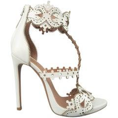 ALAIA Size 8.5 White Laser Cut Leather T Strap Sandals