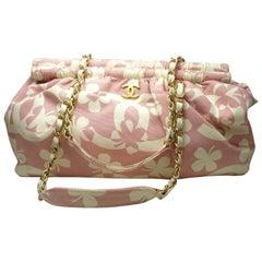 Summer 2004 Chanel Vintage CHANEL Clover chain shoulder bag Pink / Ecru XL Size