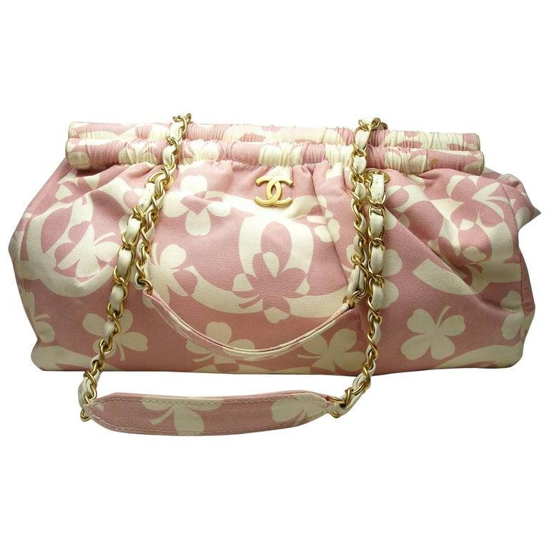 a38e08c97a6b Summer 2004 Chanel Vintage CHANEL Clover chain shoulder bag Pink   Ecru XL  Size
