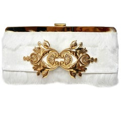 Balmain Baroque Style Fur White and gold hardware Evening Clutch