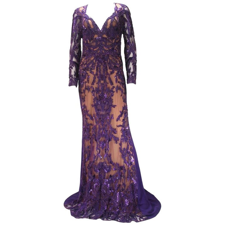 Haute Couture Elie Saab Fall 2013 Runway Sequins Gown Purple Size 40 FR