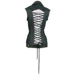 Jean Paul Gaultier Vintage Iconic Black Denim Corset Style Jacket Size 40