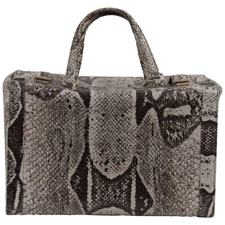 VINTAGE Beige Python Leather Train Case Beauty