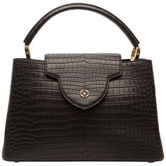 Louis Vuitton Matte Black Crocodile Capucines Tote Bag