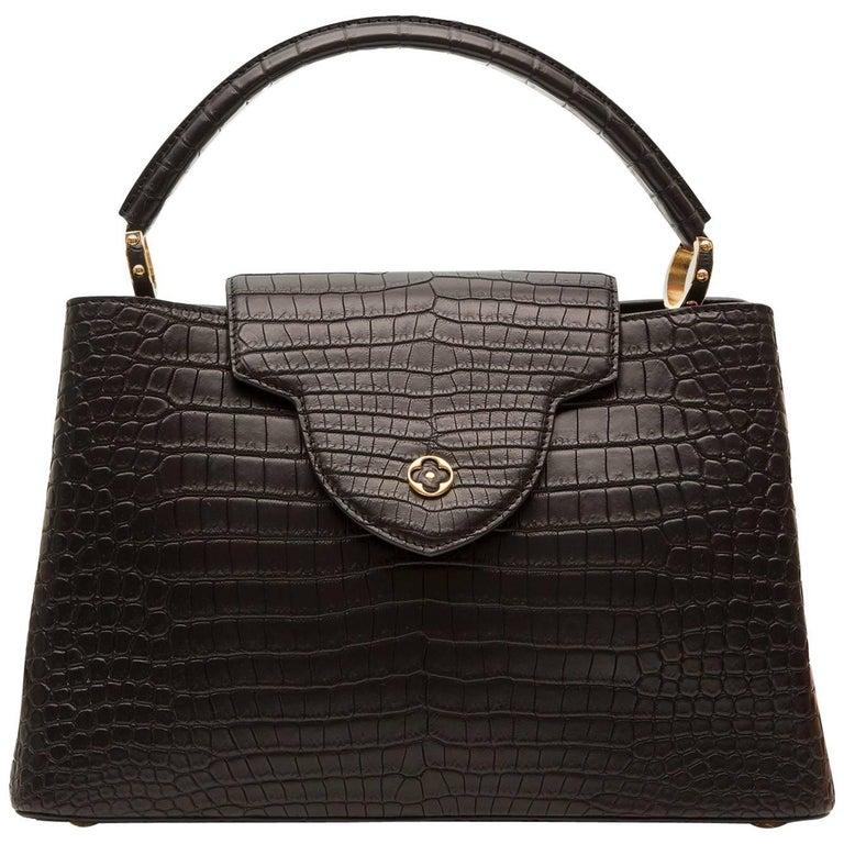 Louis Vuitton Matte Black Crocodile Capucines Tote Bag For Sale