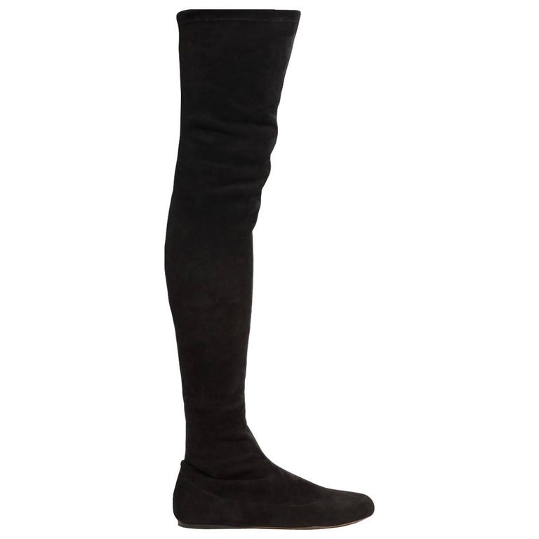 Azzedine Alaia Stretch-Suede Embellished Thigh-High Boots