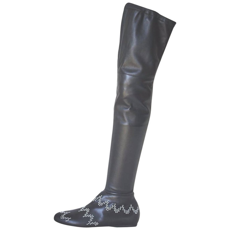 Azzedine Alaia Stretch-Leather Thigh-High Boots