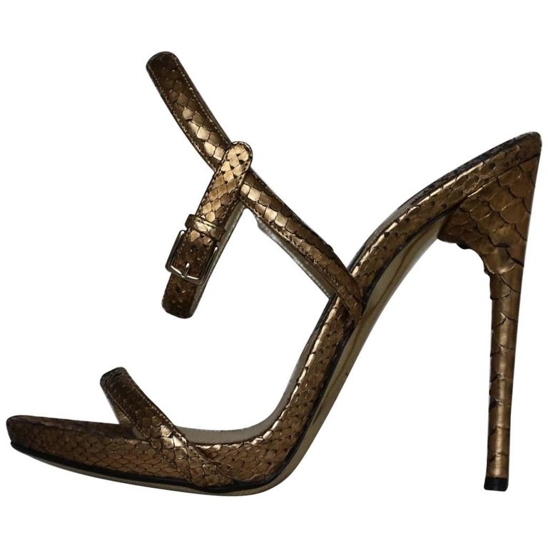 Tom Ford Gold Python Leather Sandals  For Sale