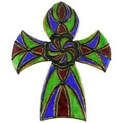 Andree Bazot Vintage Massive Enameled Cross Pendant