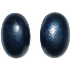 1980s Gerda Lynggaard Monies Blue/Black Oversized Oval Earrings