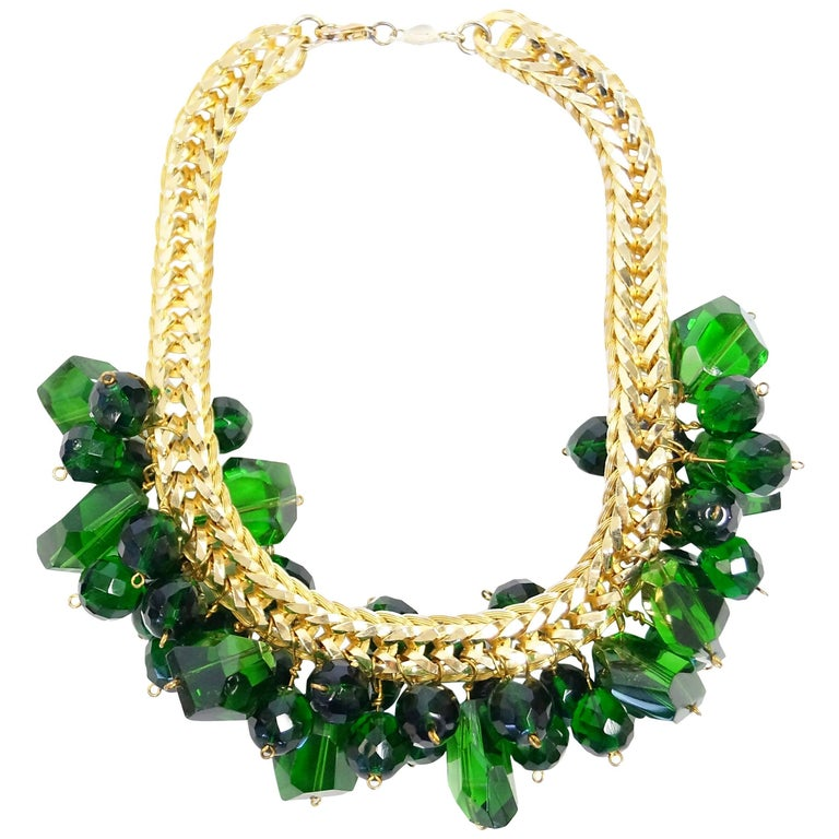 1960s Accessocraft Green Cut Glass Cluster Necklace For Sale