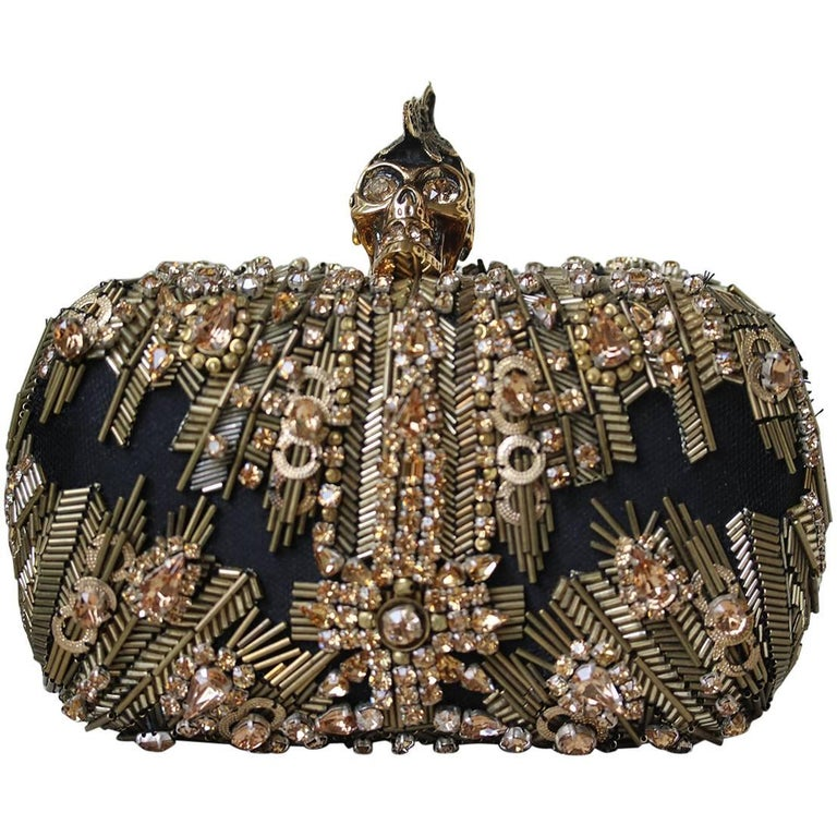 Alexander McQueen The Skull Swarovski Crystal Embellished Box Clutch