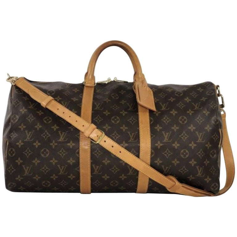 Louis Vuitton Monogram Keepall Bandoliere 50 Travel Handbag