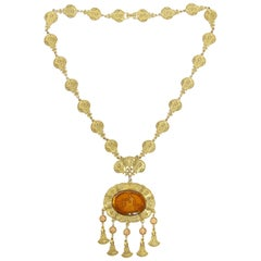Victorian Revival Cupid and Psyche Intaglio Medallion Necklace, 1960s