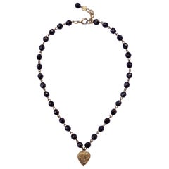 Poggi Paris Vintage Gold Plated and Black Glass Heart Necklace circa 1980s
