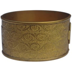 Gold Tone Wide Floral Vintage Bangle, circa 1920s
