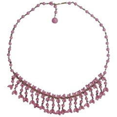 1950s Bronze Tone and Dusty Pink Glass Bead Necklace with Flower Drops