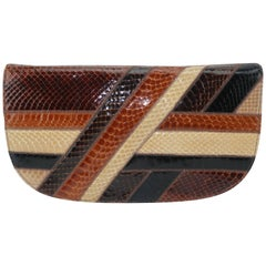 1970's Palizzio Brown Patchwork Snakeskin Handbag