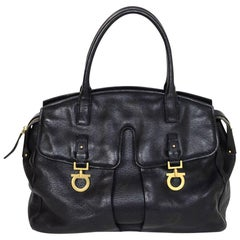 Salvatore Ferragamo Black Leather Double Pocket Satchel Bag