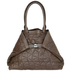 Akris Brown Quilted Leather Al Tote Bag
