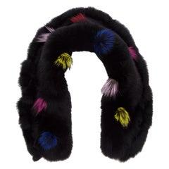 Rich Black Fox Fur Stole with Multi Colored Pom Pom Embellishments