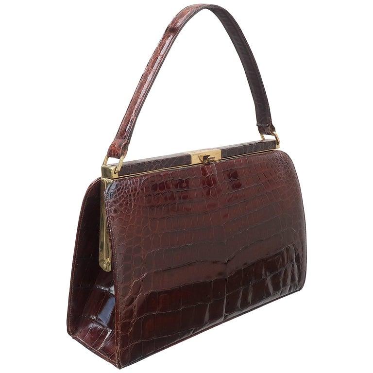 f0512a6db Classic 1950's Bellestone Brown Alligator Handbag at 1stdibs