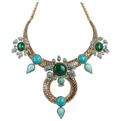 Roberto Cavalli Brass Bohemian Gold and Turquoise Statement Necklace