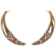 Roberto Cavalli Brass Bohemian Embellished Tusk Choker Necklace