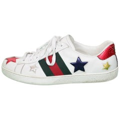 Gucci Men's Ace White Leather & Metallic Star Sneakers Sz 7.5
