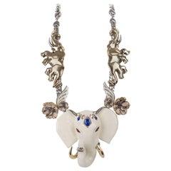 Roberto Cavalli Womens Gold Swarovski Crystal Elephant Necklace
