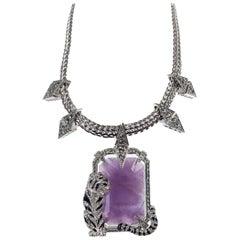 Roberto Cavalli Purple Enamel Swarovski Crystal Tiger Necklace