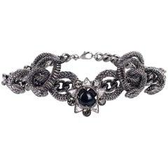 Roberto Cavalli Silver Plated Serpent Black Flower Statement Necklace