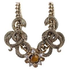 Roberto Cavalli Gold Plated Serpent Flower Stone Statement Necklace