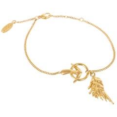 Roberto Cavalli Minimalistic Gold Plated Arrow Feather Bracelet