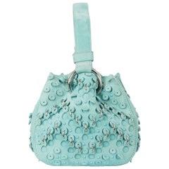 Roberto Cavalli Turquoise Suede Eyelet Studded Wristlet Bucket Bag