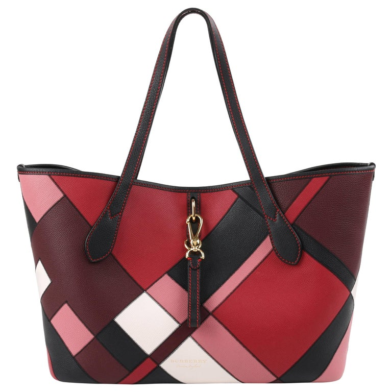 Burberry A W 2017 Medium Honeybrook 2pc Patchwork Leather Tote Bag Zip