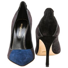 SERGIO ROSSI High Heels in Dark Gray, Black and Indigo Suede Size 36FR