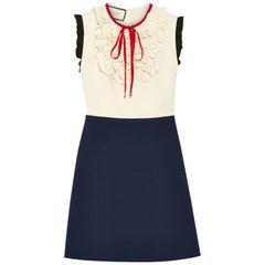 Gucci 2018 Cream & Navy Silk & Wool Blend Ruffle Dress